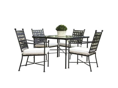 Sunset West Provence Quick Ship Wrought Iron Dining Set in Canvas Flax with Self Welt SW3201T44SET