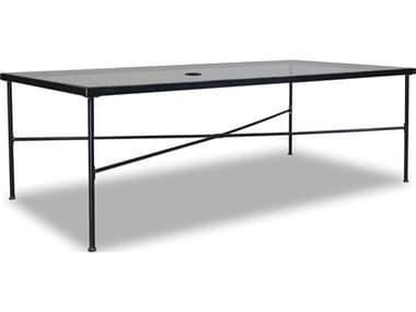 Sunset West Quick Ship Provence Wrought Iron 84 x 42 Rectangular Glass Top Dining Table SW3201T84
