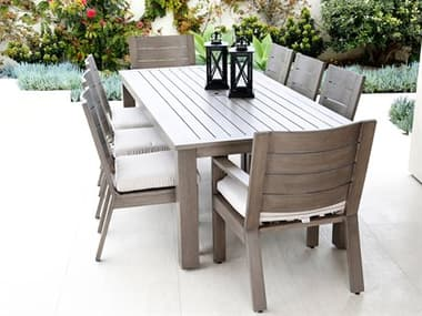 Sunset West Laguna Quick Ship Aluminum Driftwood Dining Set in Canvas Flax with Self Welt SW35011SET