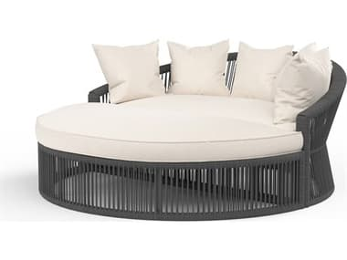 Sunset West Milano Quick Ship Wicker Cushion Lounge Daybed in Echo Ash SW41019957005