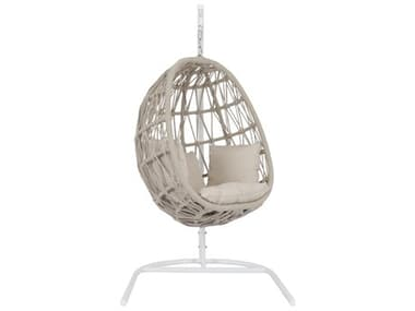 Sunset West Dana Quick Ship Wicker Cushion Swing in Linen Canvas with Self Welt SW4301HC8353