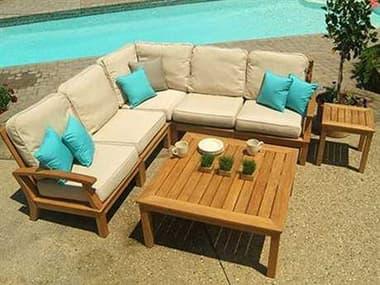 Three Birds Casual Classic Teak Sectional Cushion Lounge Set TBMT40SET
