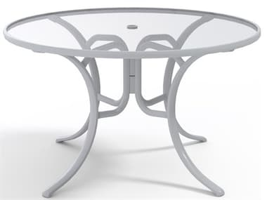 Telescope Casual Glass Top Aluminum 48'' Wide Round Dining Table with Umbrella Hole TC2770