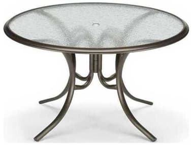 Telescope Casual Glass Top Aluminum 56'' Wide Round Dining Table with Umbrella Hole TC2800