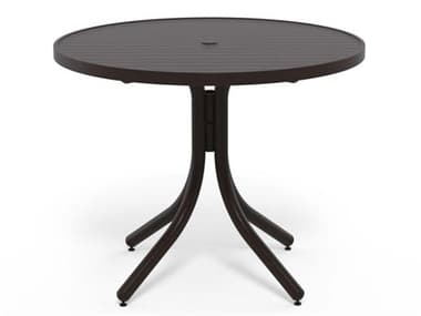 Telescope Casual Aluminum Slat Top 36'' Wide Round Dining Height Table with Umbrella Hole TC32302W50