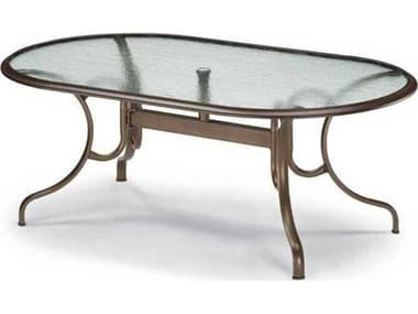 Telescope Casual Glass Top Aluminum 75''W x 43''D Oval Dining Table with Umbrella Hole TC3460