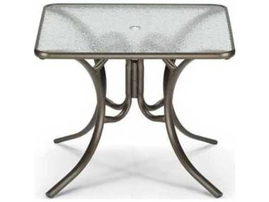 Telescope Casual Glass Top Aluminum 36'' Wide Square Dining Table with Umbrella Hole TC3860