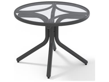 Telescope Casual Glass Top Aluminum 30'' Wide Round Chat Height Table with Umbrella Hole TC59801W20