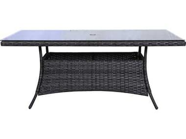 Teva Bora Bora Wicker Rattan 42W x 72D Dining Table with Glass Top TE103DT72
