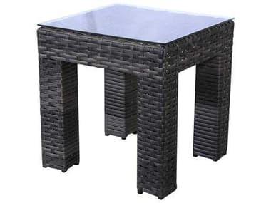 Teva Bora Bora Wicker Rattan 20W x 20H End Table with Glass Top TE103ET