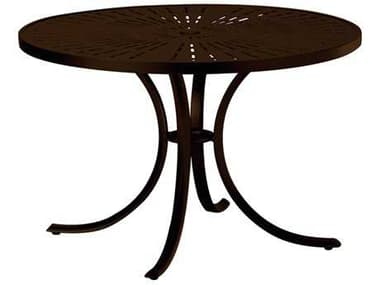Tropitone La Stratta Aluminum 42wide Round Dining Table with Umbrella Hole TP1842SLU
