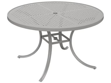 Tropitone Patterned Boulevard Aluminum 48'' Wide Round Dining Table with Umbrella Hole TP1847SBU