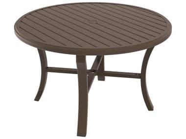 Tropitone Banchetto Slat Aluminum 48'' Wide Round Dining Table with Umbrella Hole TP401148U