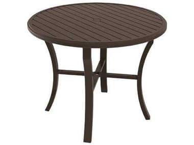 Tropitone Banchetto Slat Aluminum 48'' Wide Round KD Counter Table with Umbrella Hole TP401148U34