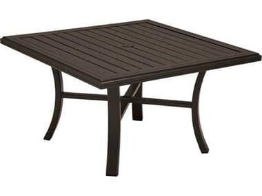 Tropitone Banchetto Slat Aluminum 42'' Wide Square Chat Table with Umbrella Hole TP401162U