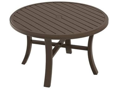 Tropitone Banchetto Slat Aluminum 42'' Wide Round Chat Table with Umbrella Hole TP401186U