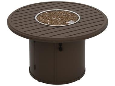 Tropitone Banchetto Aluminum 42'' Wide Round Fire Pit Table - Ignitor TP401442FP