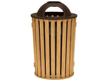 Tropitone District Aluminum Round Waste Receptacle with Dome Hood and Ash Urn Faux Wood Slat TP4A1699C32