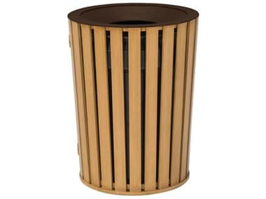 Tropitone District Aluminum Round Waste Receptacle with Dome Hood and Ash Urn Faux Wood Slat TP4A1699F32