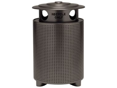 Tropitone District Aluminum Round Waste Receptacle with Recycling Hood Square Pattern TP4A1699S31