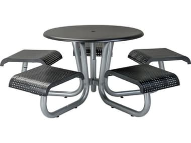 Tropitone District Aluminum 42'' Wide Round Picnic Table with 5 Seats Square Pattern TP4C1642HE1