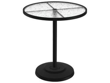 Tropitone Acrylic Cast Aluminum 36'' Wide Round KD Pedestal Bar Table with Umbrella Hole TP701497AU