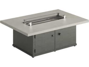 Tropitone Matrix Aluminum 50''W x 34''D Rectangular Fire Pit Table - Match Lit TPTX1953FPL18