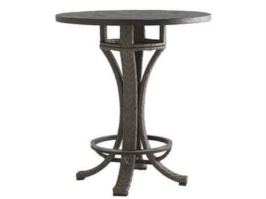 Tommy Bahama Outdoor Blue Olive Wicker 38'' Round Adjustable Bar Table TR3230873BBSET
