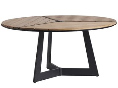 Tommy Bahama Outdoor South Beach Teak 60'' Wide Round Dining Table with Umbrella Hole TR3940875TT3940875TB