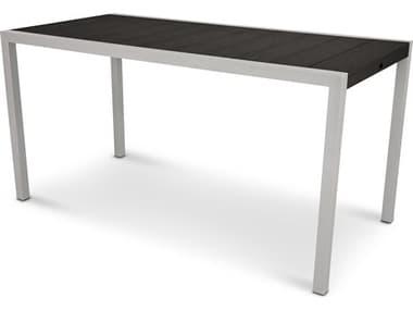 Trex® Outdoor Furniture™ Surf City Aluminum 73''W x 36''D Rectangular Counter Table with Umbrella Hole TRXTX8311