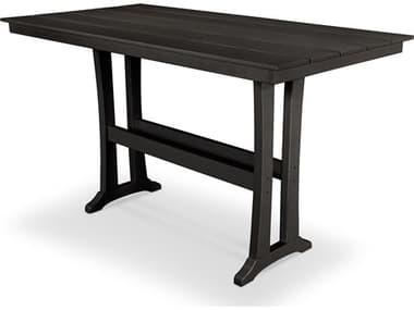 Trex® Outdoor Furniture™ Farmhouse Trestle Recycled Plastic 72'W x 37''D Rectangular Bar Table with Umbrella Hole TRXTXPLB83T1L1