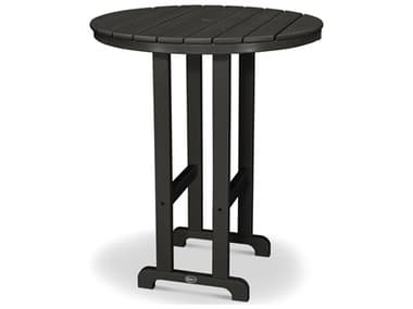Trex® Outdoor Furniture™ Monterey Bay Recycled Plastic 35'' Wide Round Bar Table with Umbrella Hole TRXTXRBT236