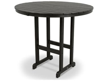 Trex® Outdoor Furniture™ Monterey Bay Recycled Plastic 48'' Wide Round Bar Table with Umbrella Hole TRXTXRBT248