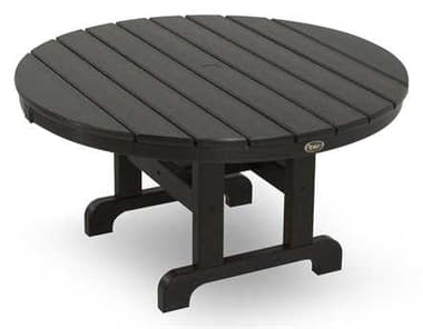 Trex® Outdoor Furniture™ Cape Cod Recycled Plastic 36'' Wide Round Chat Table with Umbrella Hole TRXTXRCT236