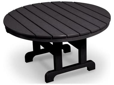 Trex® Outdoor Furniture™ Cape Cod Recycled Plastic 48'' Wide Round Chat Table with Umbrella Hole TRXTXRCT248