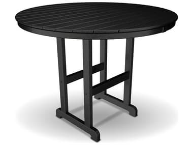 Trex® Outdoor Furniture™ Monterey Bay Recycled Plastic 48'' Wide Round Counter Table with Umbrella Hole TRXTXRRT248