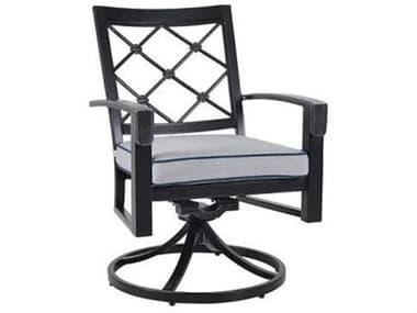 Veranda Classics Bella Cast Aluminum Glossy Black Swivel Rocker Dining Arm Chair - Sold in 4 VER85C0220S011