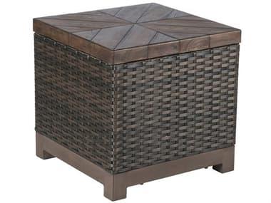 Veranda Classics Metropolitan Wicker Smoked Bronze 22'' Wide Square Tazza TerraFab Top End Table VERDSSD922SQWDTZLM