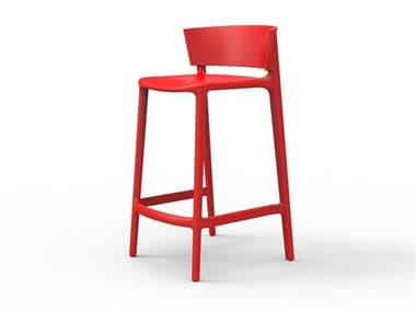Vondom Outdoor Africa Red Matte Resin Counter Stool (Set of 4) VOD65030RED