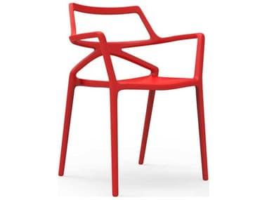 Vondom Outdoor Delta Red Matte Resin Dining Chair (Set of 4) VOD66026RED