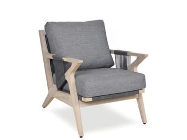 Woodbridge Furniture Outdoor Weathered Teak Recycled Plastic Cushion Lounge Chair WFOO70036