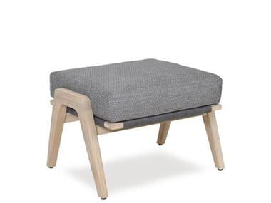 Woodbridge Furniture Outdoor Weathered Teak Recycled Plastic Cushion Ottoman WFOO70136