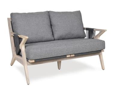 Woodbridge Furniture Outdoor Weathered Teak Recycled Plastic Cushion Loveseat WFOO70236