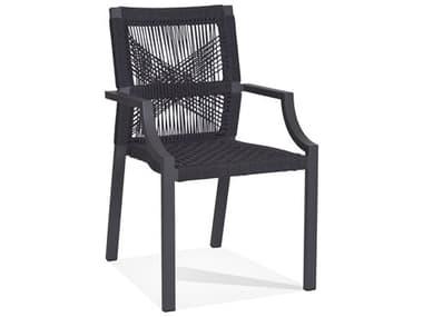 Woodbridge Furniture Outdoor Graphite Gray Aluminum Teak Recycled Plastic Dining Chair WFOO70484