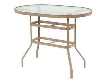 Windward Design Group Glass Top Aluminum 54''W x 36''D Oval Bar Table WINKD365418BG