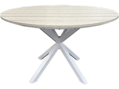 Windward Design Group Tahoe Plank Mgp Aluminum 46''Wide Round Counter Table with Umbrella Hole WINKD462536TPU