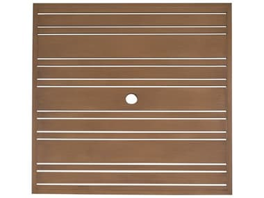 Woodard Extruded Aluminum Tri-Slat 36'' Wide Square Table Top with Umbrella Hole WR02637