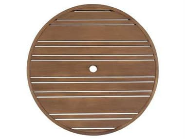 Woodard Extruded Aluminum Tri-Slat 60'' Wide Round Table Top with Umbrella Hole WR02660