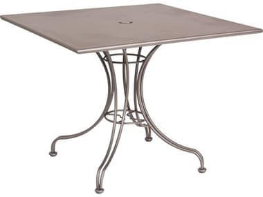 Woodard Wrought Iron 36'' Wide Square Dining Table with Umbrella Hole WR13L4SU36