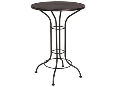 Woodard Aurora Wrought Iron 30'' Wide Round Mesh Top Bar Height Table WR190056